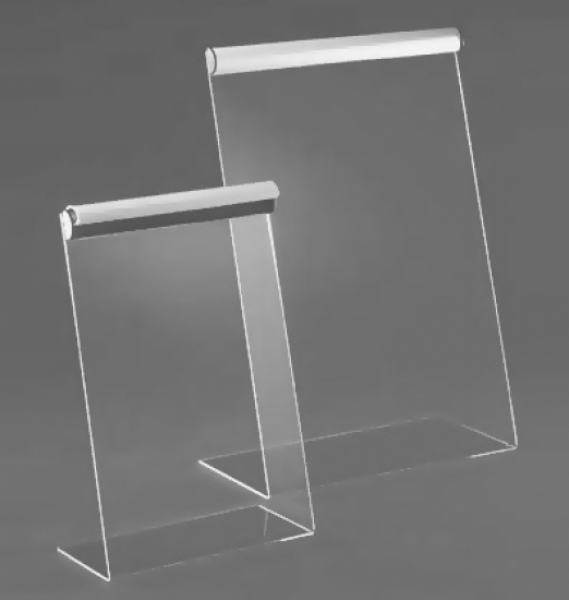 L-Display aus Acryl mit Klemmprofil